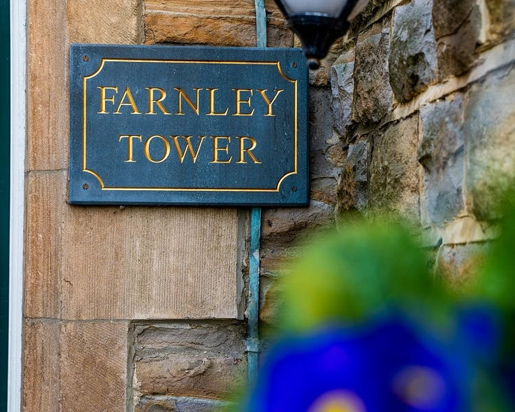 Farnley Tower plaque
