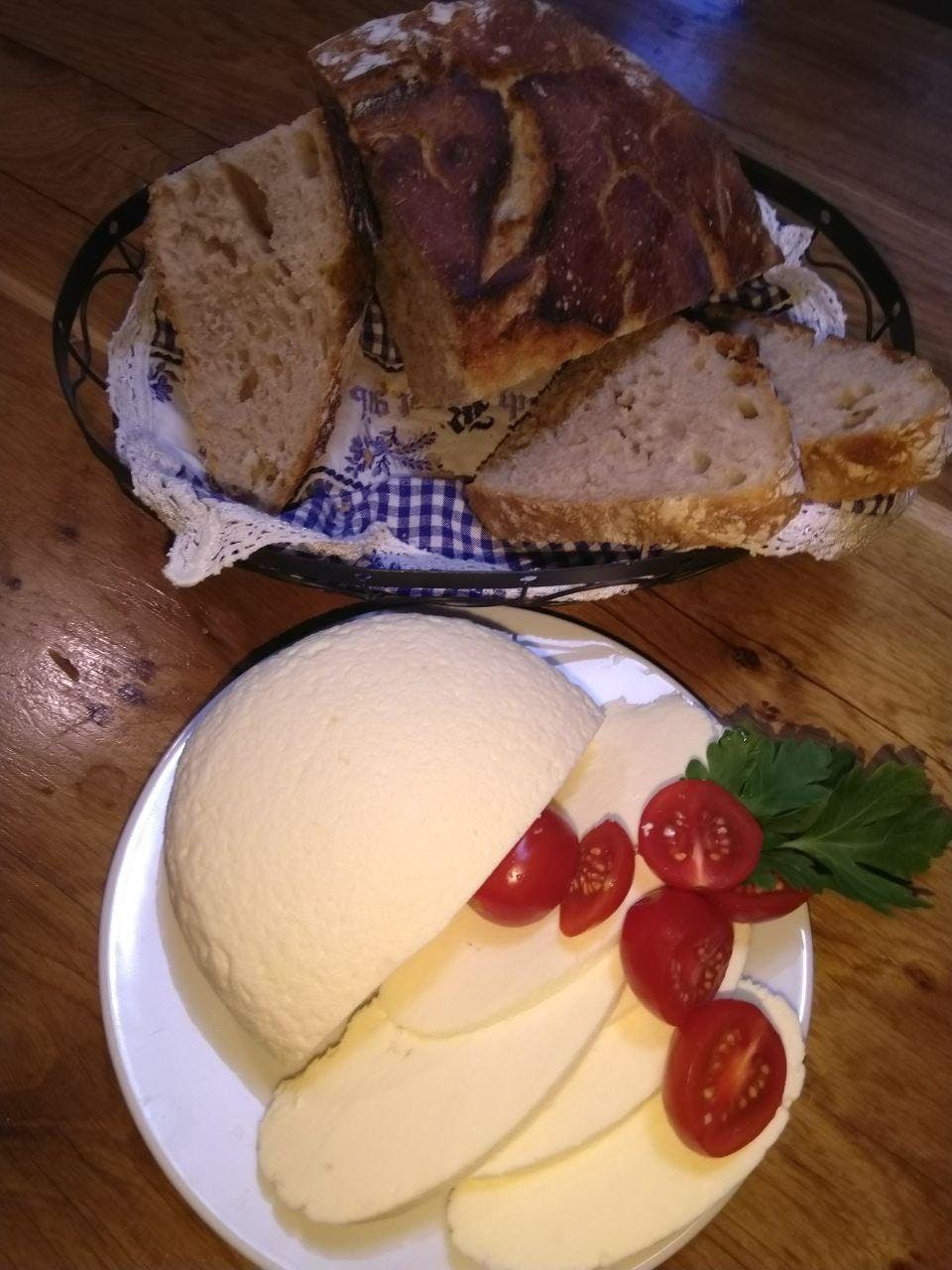 Homemade cheese with homemade bread