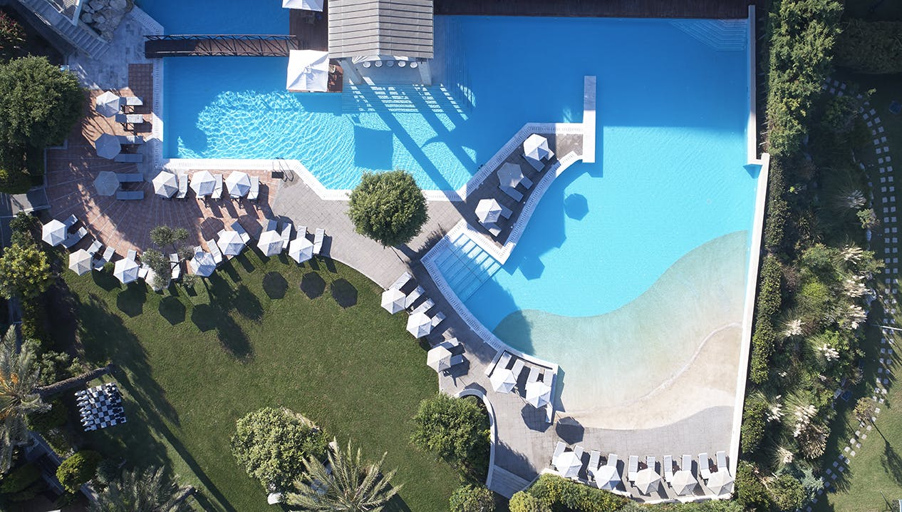 Bird eye view of the main pool