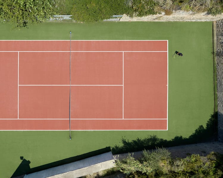 Areal view of the tennis court