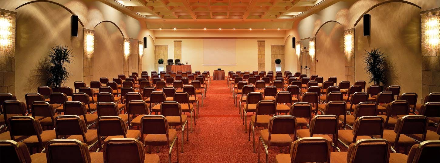 Main conference hall at Rhodes Bay Hotel theatre style