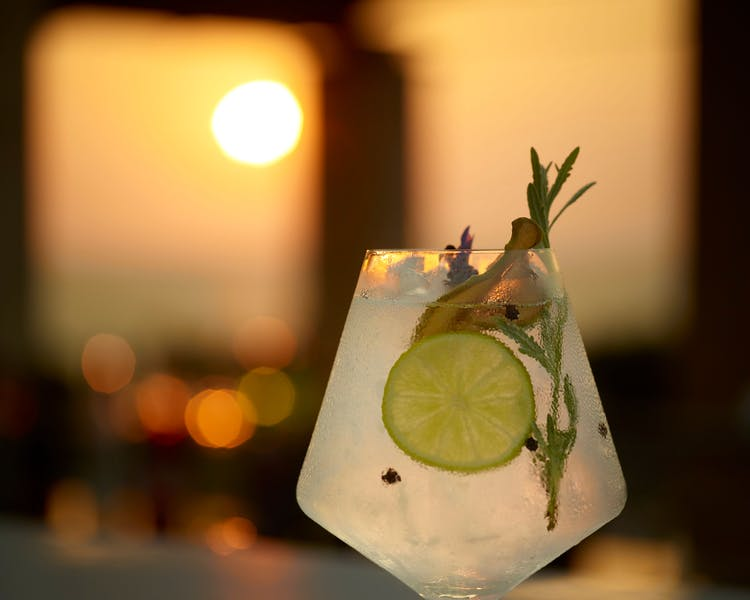 Cocktail with sunset