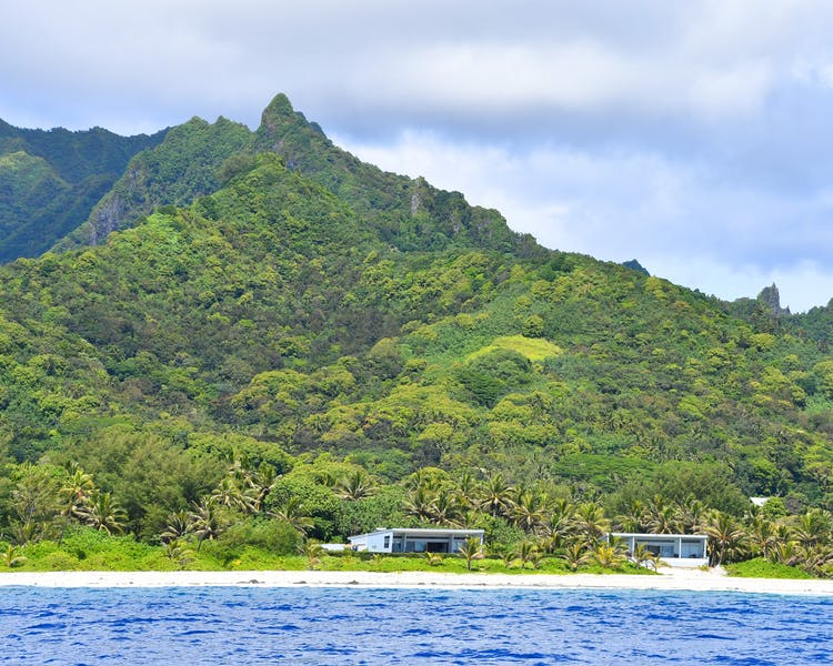 From the Ocean looking towards Coast Cook Island's 2 Villas and to the mountains