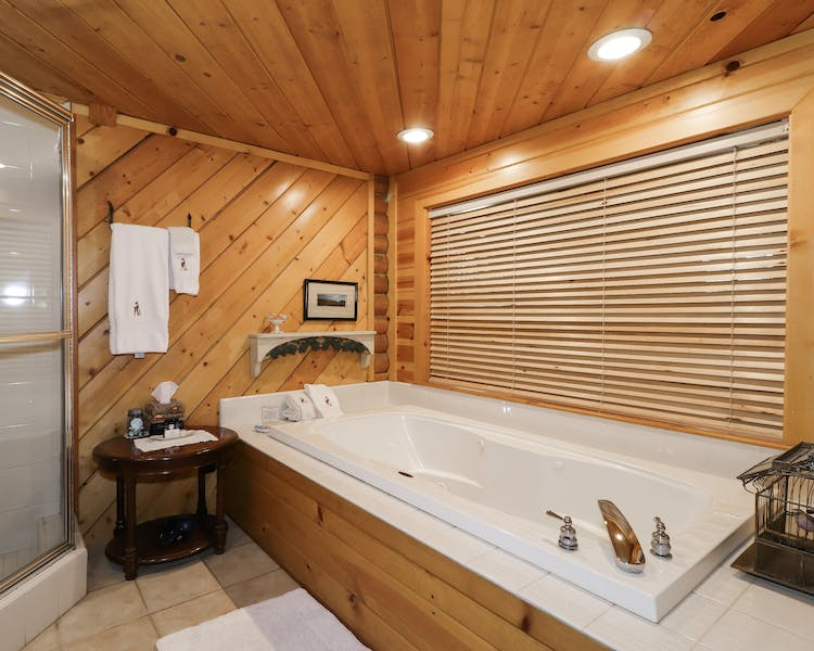 A large ground floor suite with 2 person jetted tub