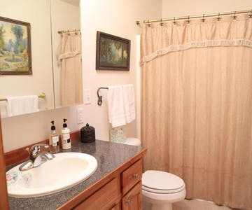 The Queen room bathroom, located right ourtside your door. This room is upstairs.