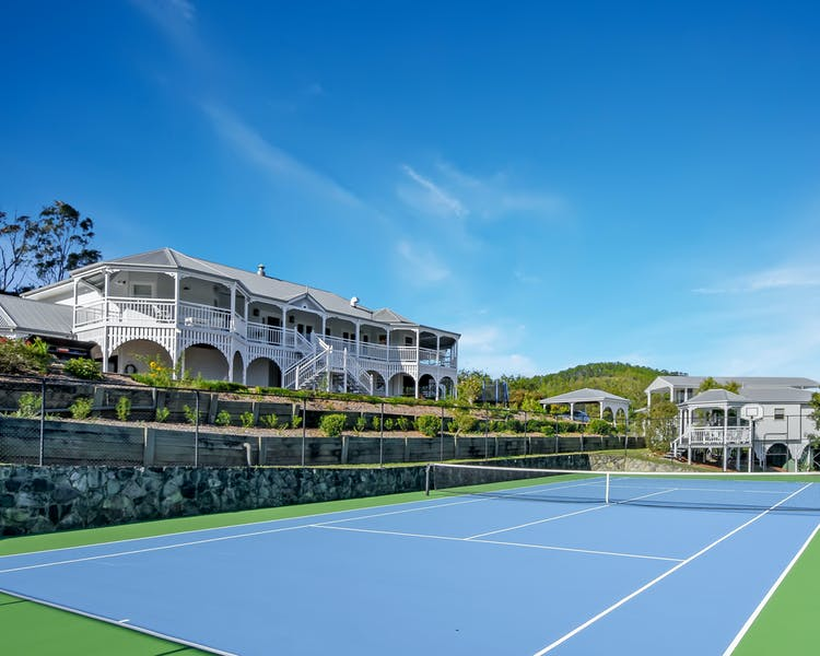 The tennis court - players view.