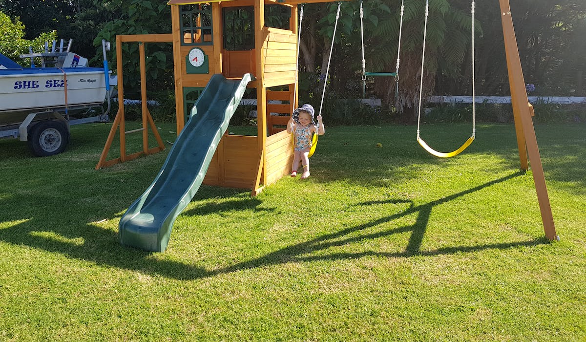 Climbing frame, swings and slide fun