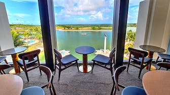 Breathtaking lake view from Medallion Lounge, LeoPalace Resort Guam