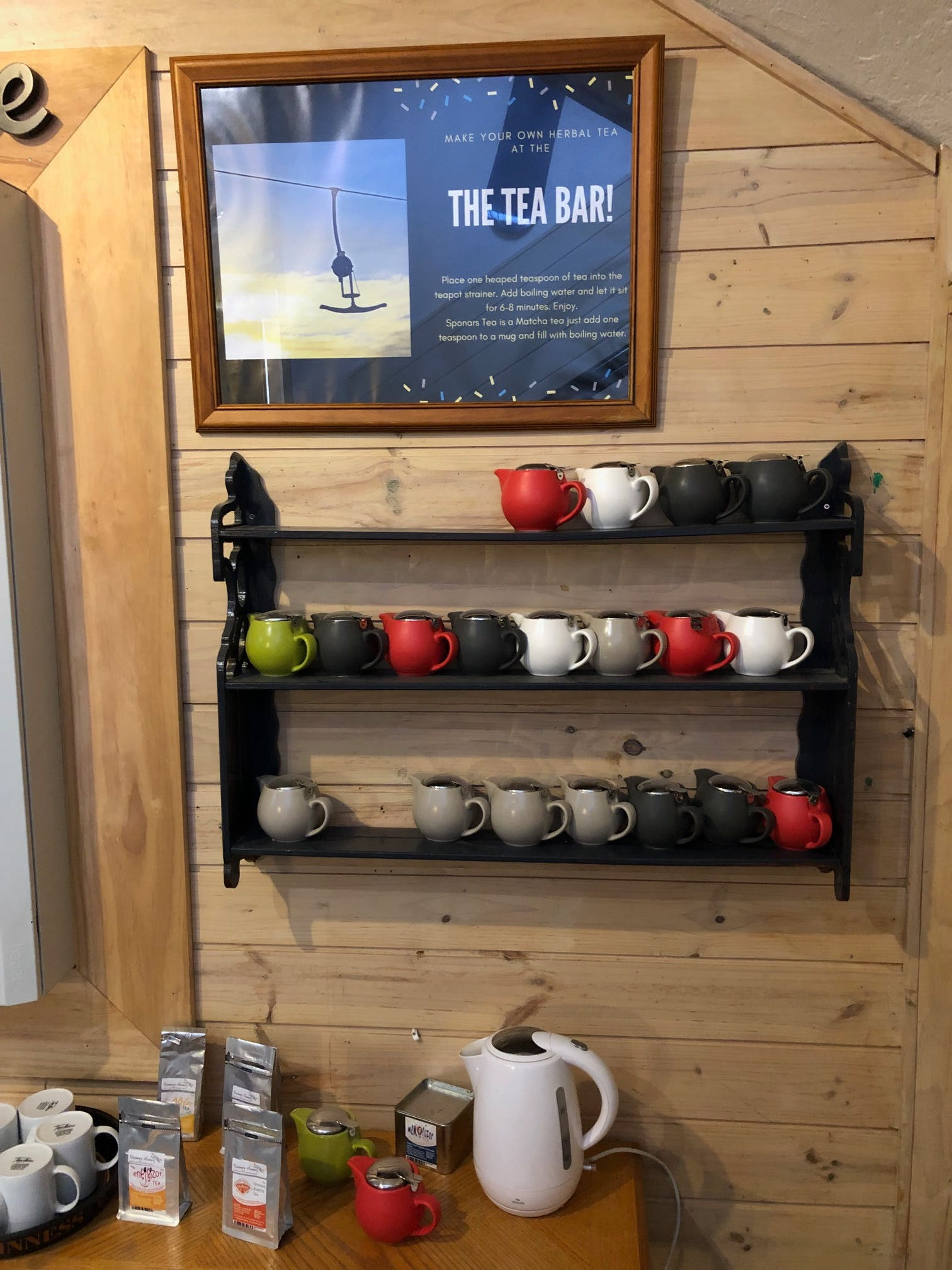 The Tea Bar is FREE for the guests at Sponars. Try some therapeutic tea to boost your health during your stay.