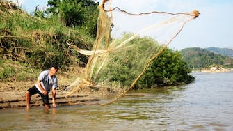 Fishing on the Mekong river