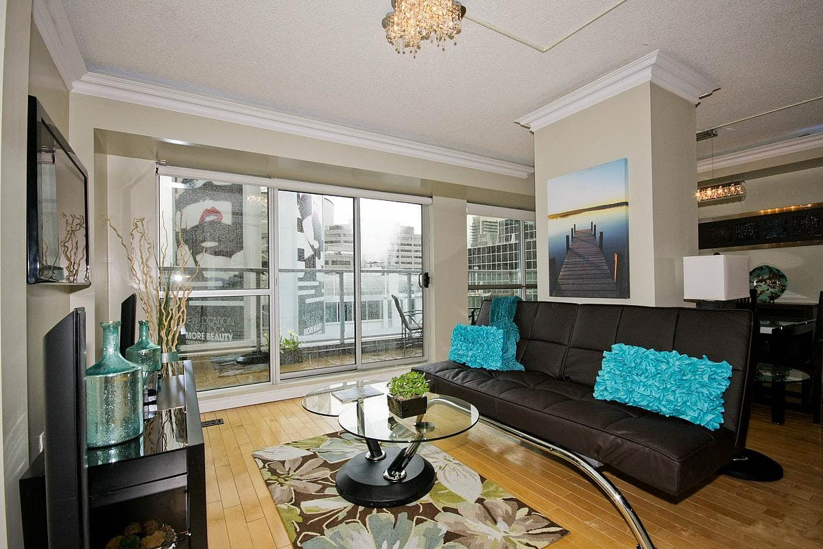 Yonge Suites Split Level 2 Bedroom Suite Penthouse E Living Room and Terrace