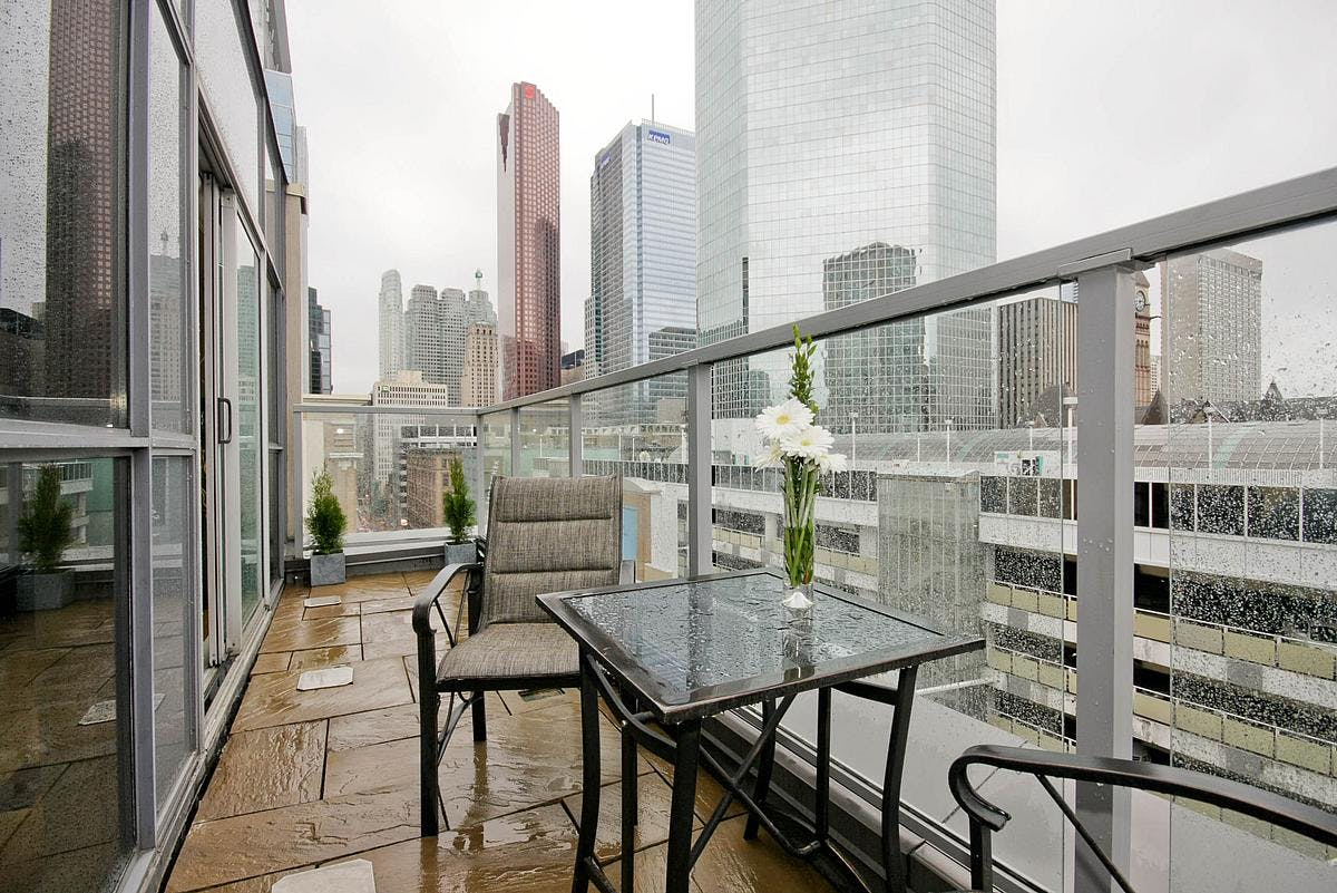Yonge Suites Split Level 2 Bedroom Suite Penthouse E terrace south view