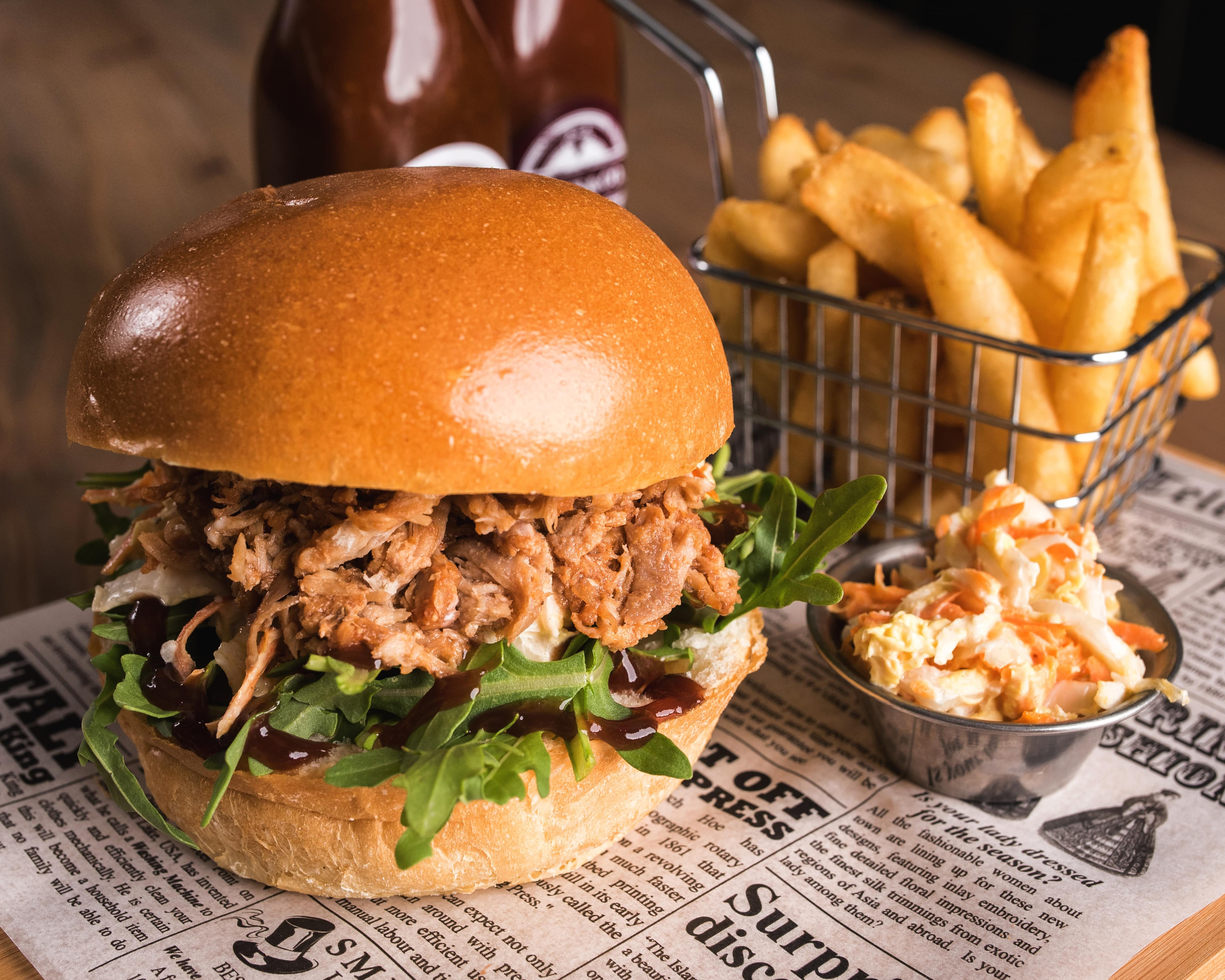 Pulled pork burger, Leigh Creek Bar & Grill, Leigh Creek Outback Resort, Flinders Ranges accommodation