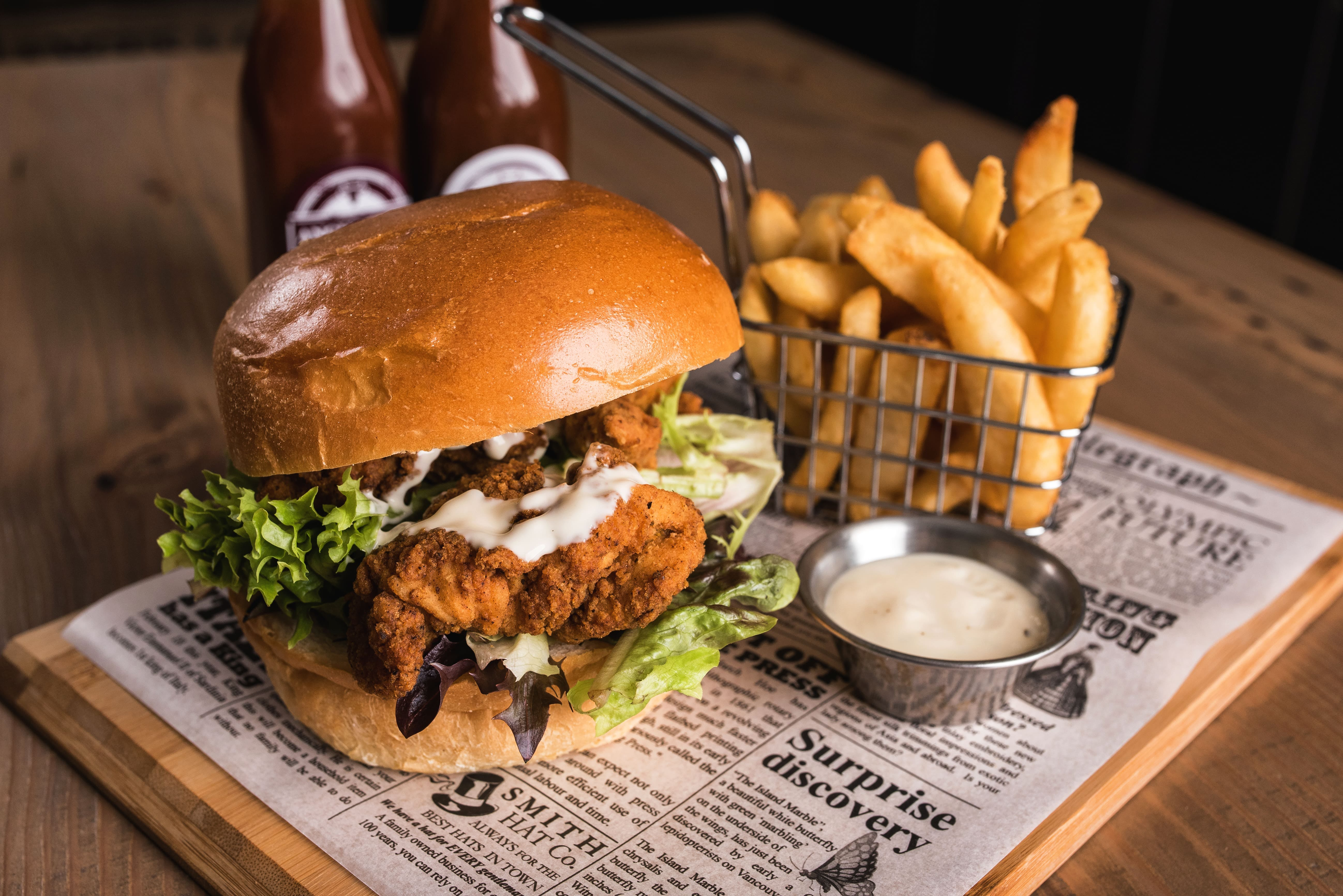 Chicken schnitzel burger, Leigh Creek Bar & Grill, Leigh Creek Outback Resort, Flinders Ranges accommodation
