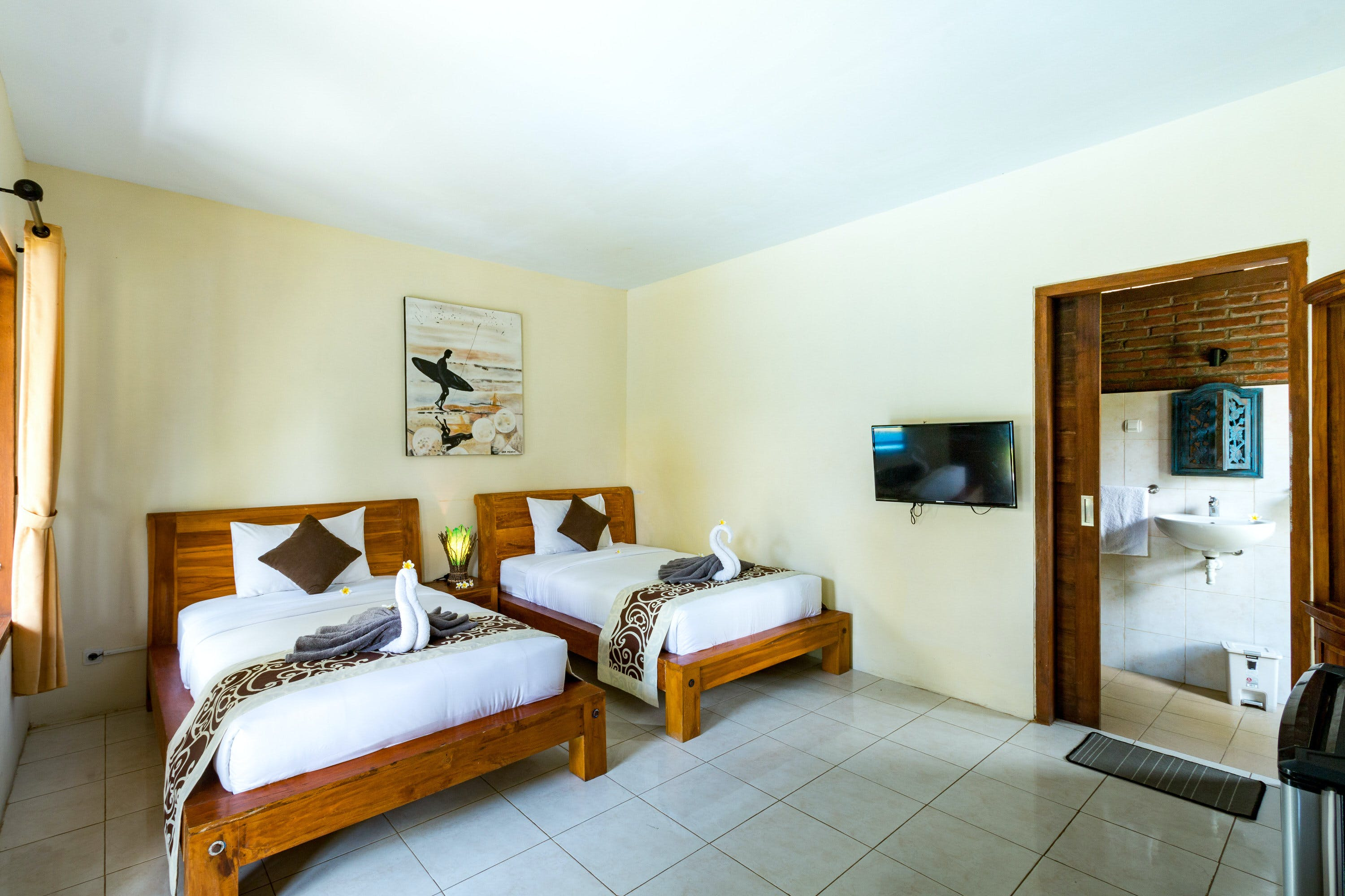 Pool View Twin Room at Sea Medewi Resort, best hotel for surfing, yoga, and enjoy Medewi beach in Negara