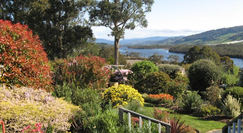 Enjoy the colourful gardens and Huon Valley views at Hillside Bed & Breakfast Huonville Tasmania hillsidebedandbreakfasthuonv