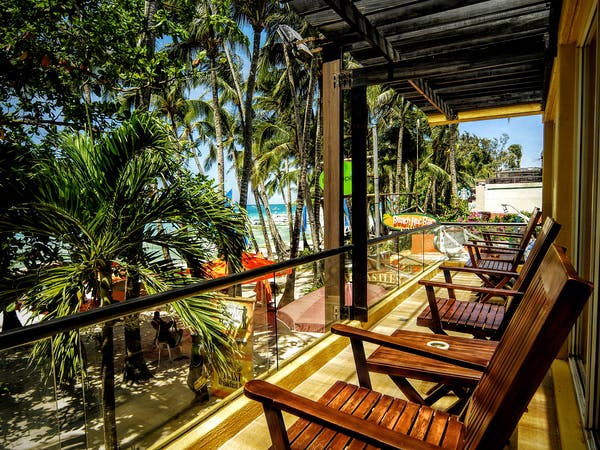 Balcony overlooking Boracay beach - Maranaw 2 bedroom absolute beachfront apartment at Boracay SandCastles The Apartments