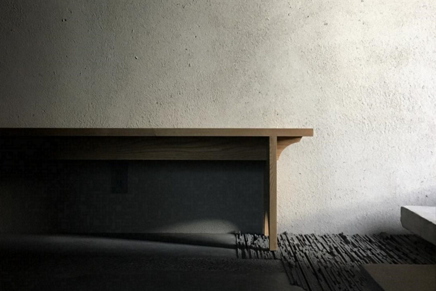 Kyoto Komatsu Residences - handmade bench in waiting area of rooftop space