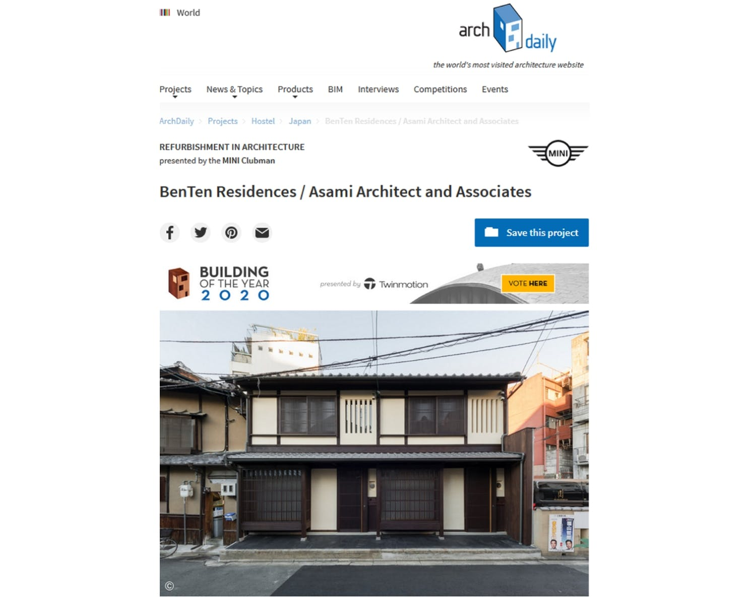 Kyoto BenTen Residences - Curated and Featured in ArchDaily