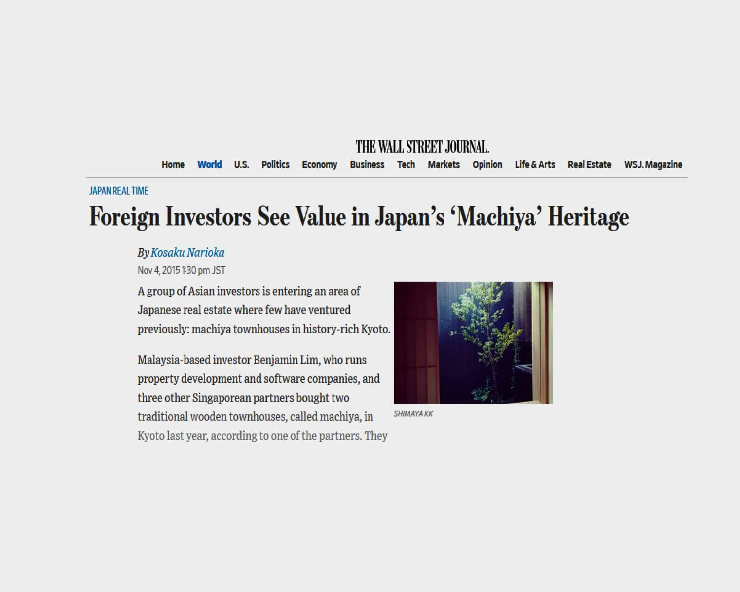 Shimaya Stays in Kyoto featured in the Wall Street Journal WSJ investment in Machiya