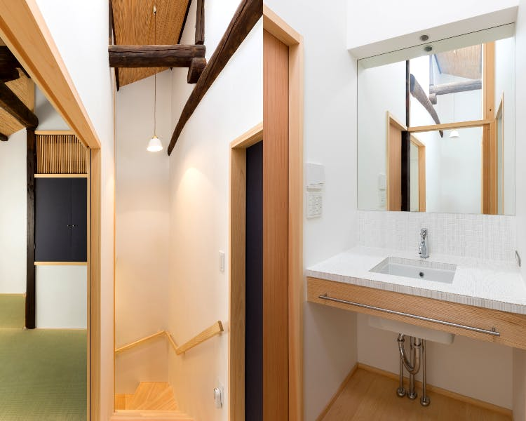 BenTen West Machiya in Kyoto - Stair landing and 2F Bathroom