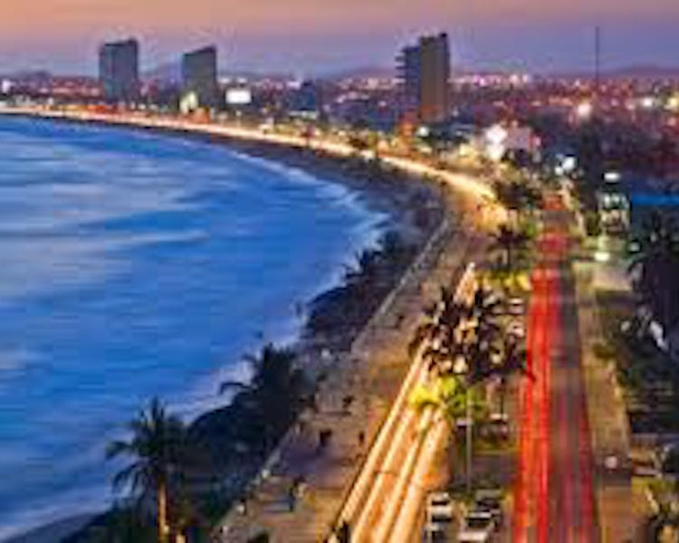 Mazatlan Malecon by night.