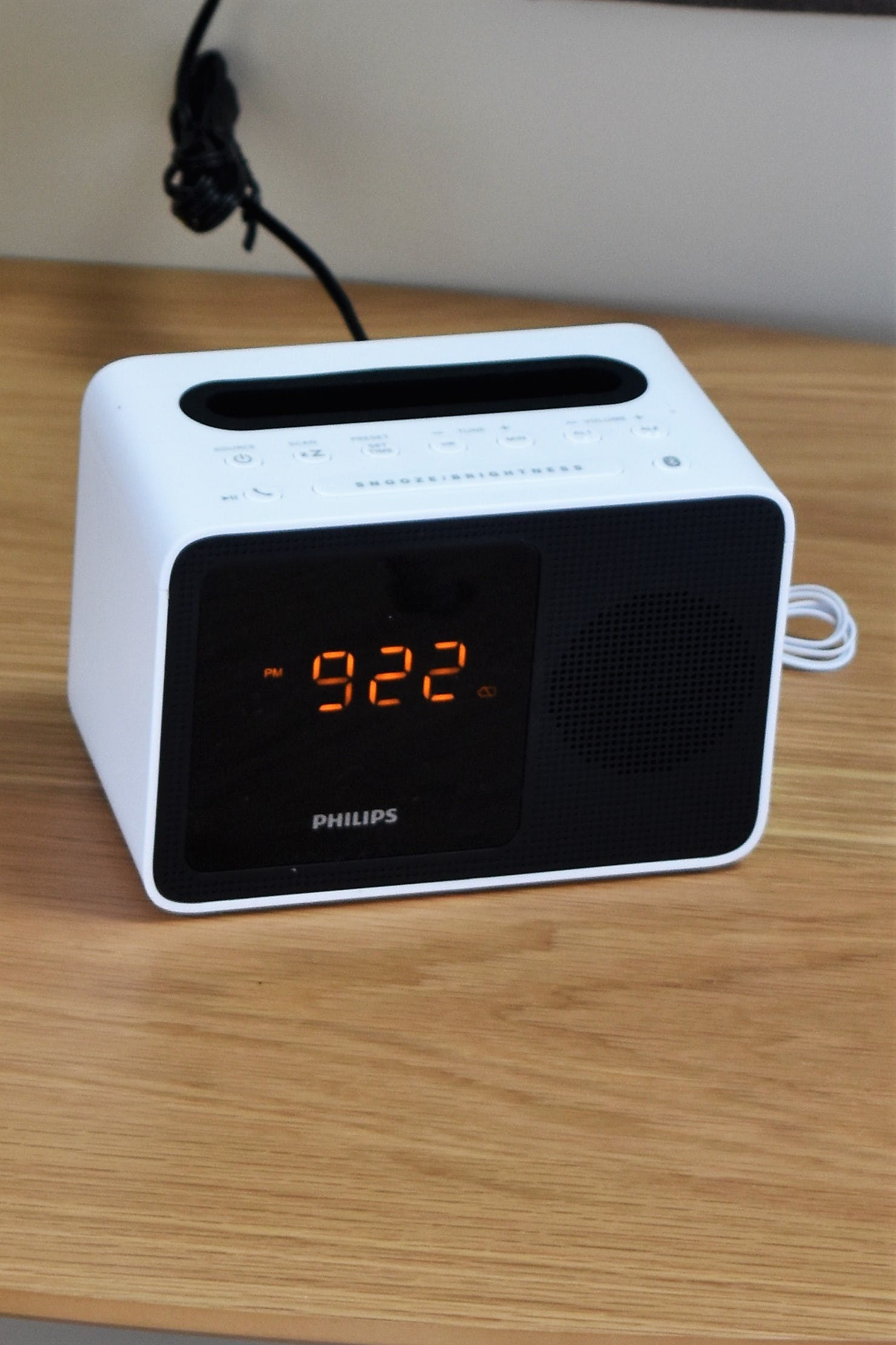 Clock radio with blue tooth speaker to play your favourite songs. USB charger attached to clock radio.