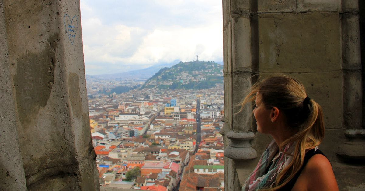 Basilica of the National Vote, view of Quito from the bell tower