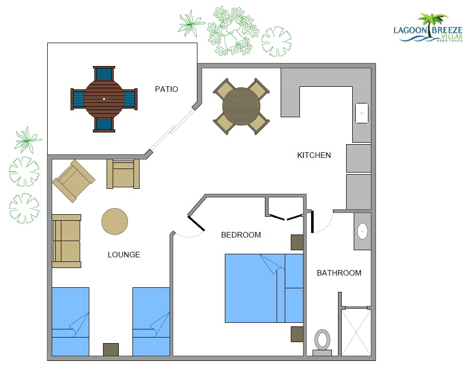 1 Bedroom Villa room layout