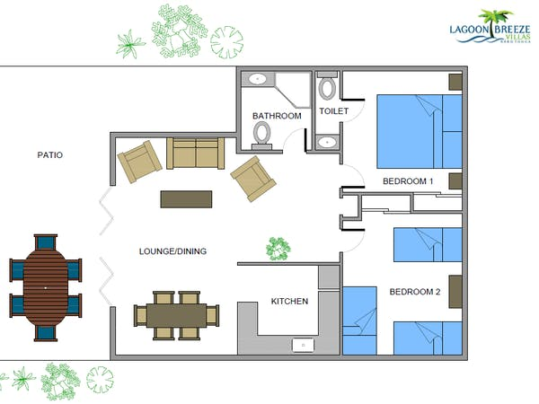 2 Bedroom Two Level Villa room layout