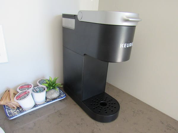 Keurig coffee makers are in each suite