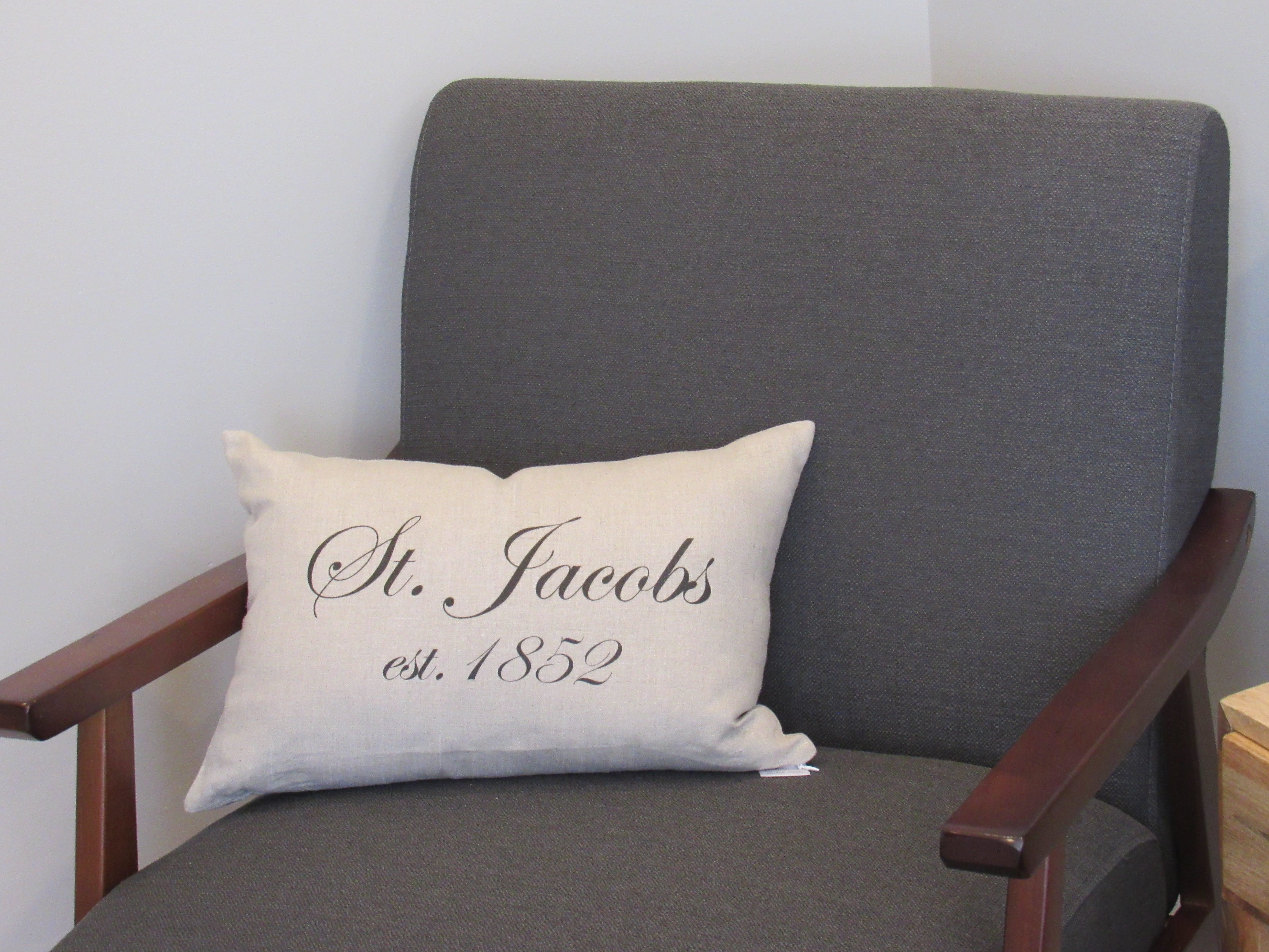 St Jacobs Suite - personalized pillow displays the history of this lovely town.