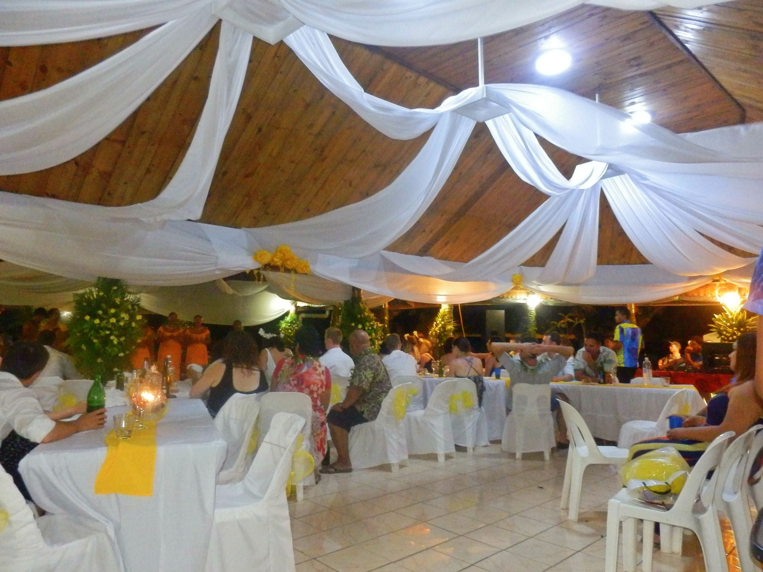 Wedding reception inside beach restaurant