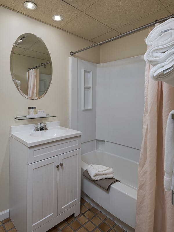 Bathroom vanity and tub