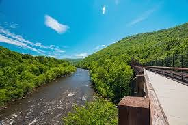 Try to Rail Trail along Lehigh Gorge via bicycle