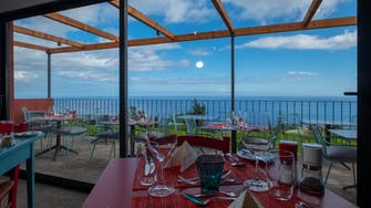 View from the wine bar restaurant with blue sky, green vineyard, and blue sea beyond