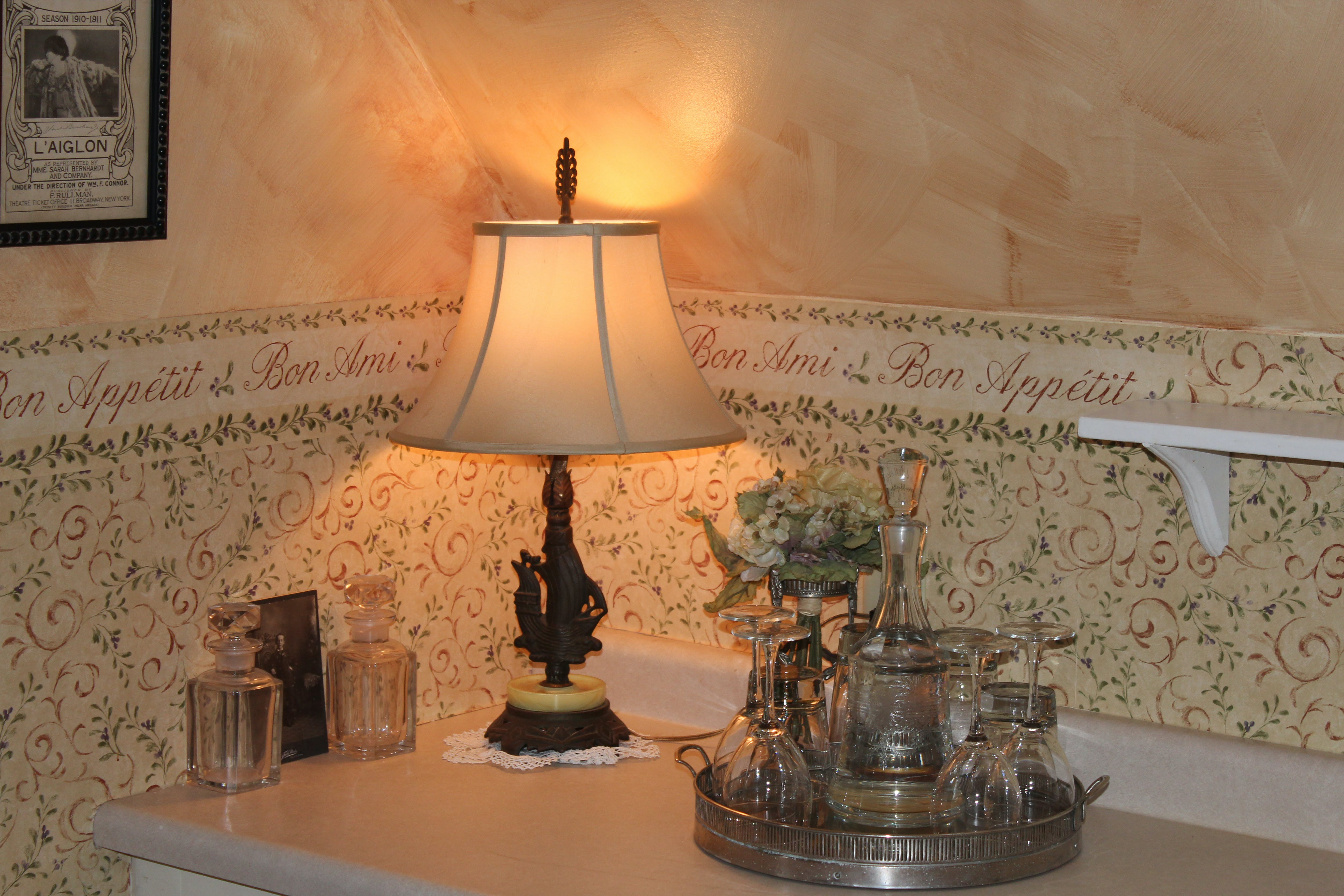 Lamp and tray in Carriage House Suite Kitchen