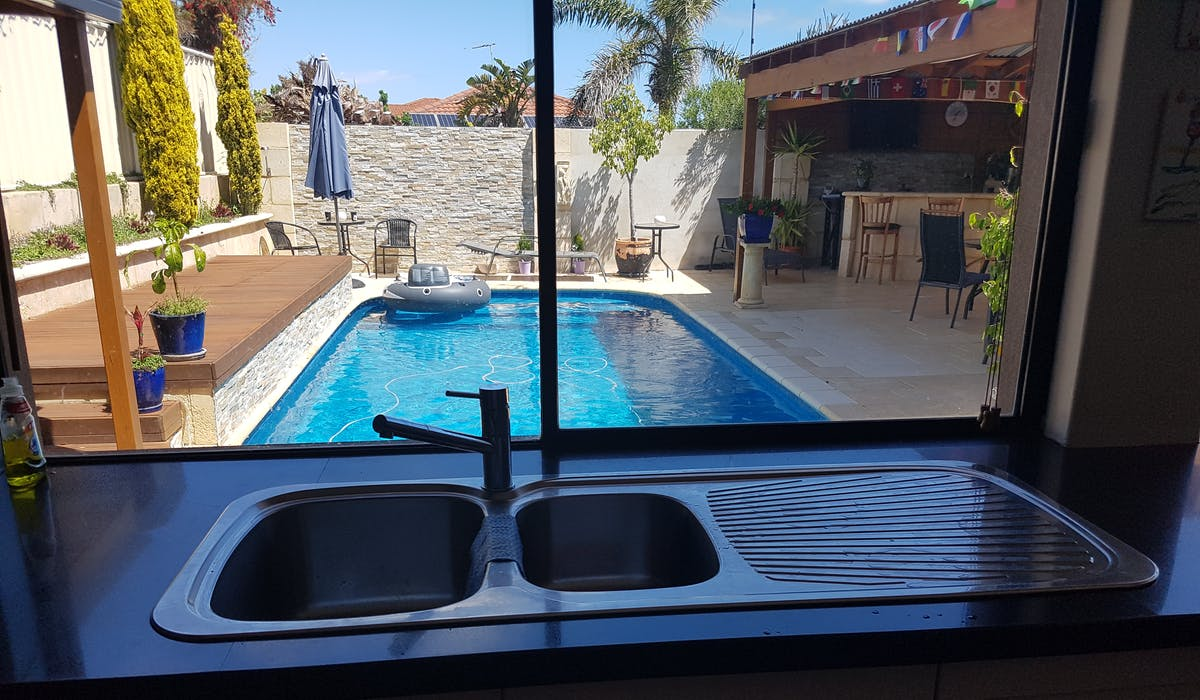 View of the pool area from the kitchen