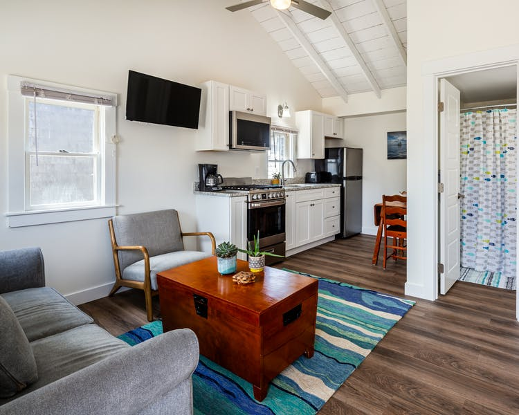 Truro Beach Cottages - Cottage #7 - living space and kitchen