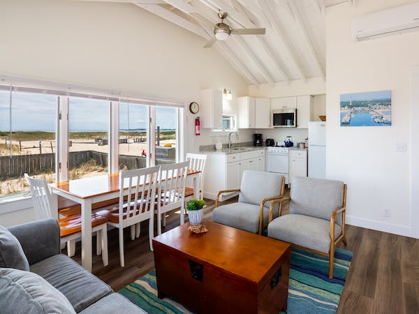 Truro Beach Cottages - Cottage #5 - living area and kitchen