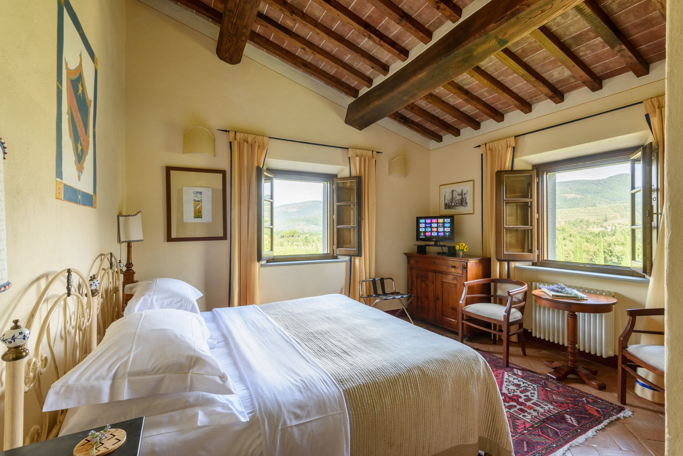 Casa Portagioia Tuscany bed and breakfast , Nocci double bedroom with views of gardens, vineyards and olive groves