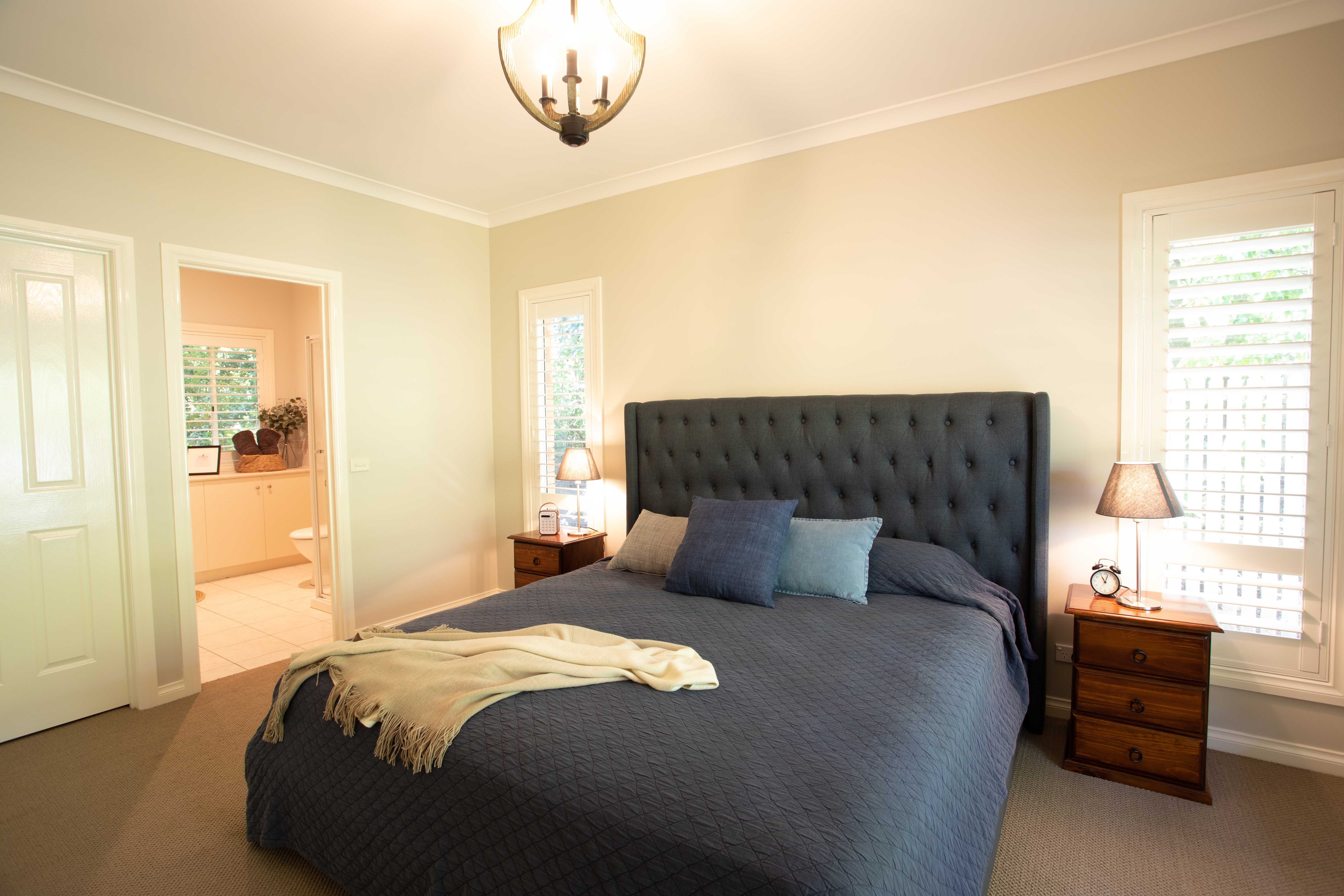 The master bedroom of Gracefield House includes complete ensuite with shower as well as king size bed and views to the garden