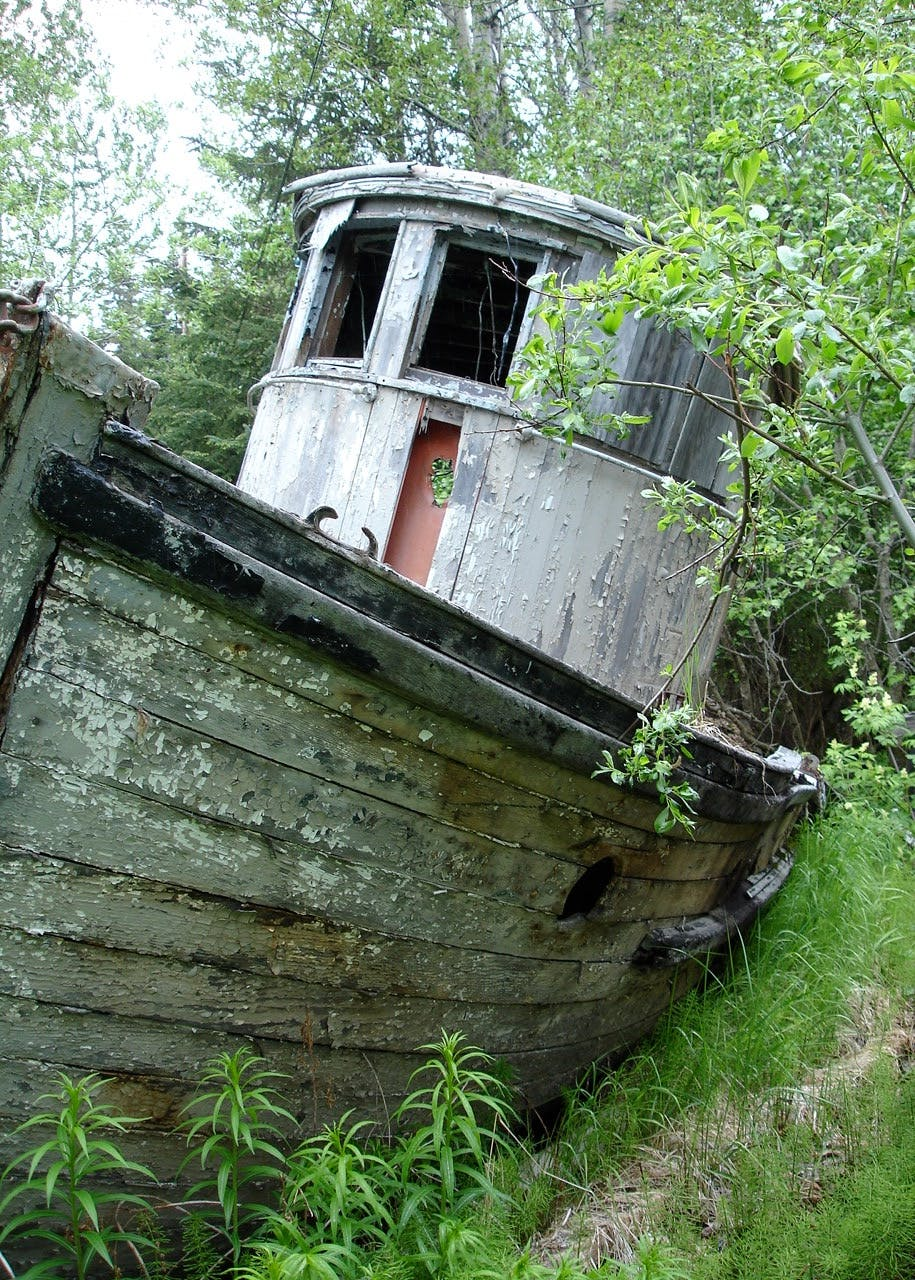 "Old Boat ""I A R Juneau"" on property"