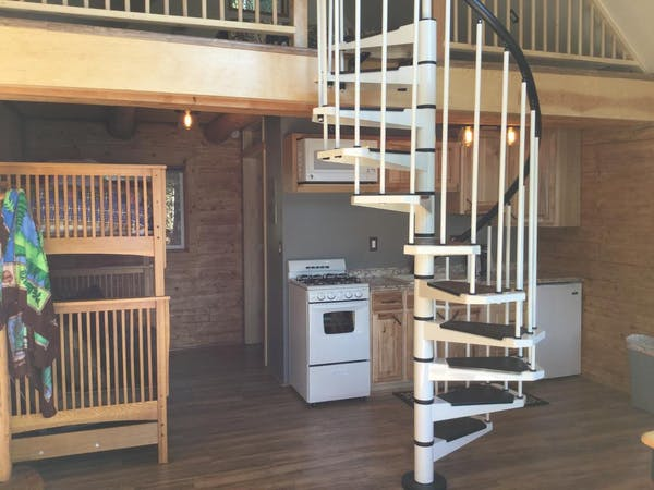 Lakeview Cabin spiral staircase