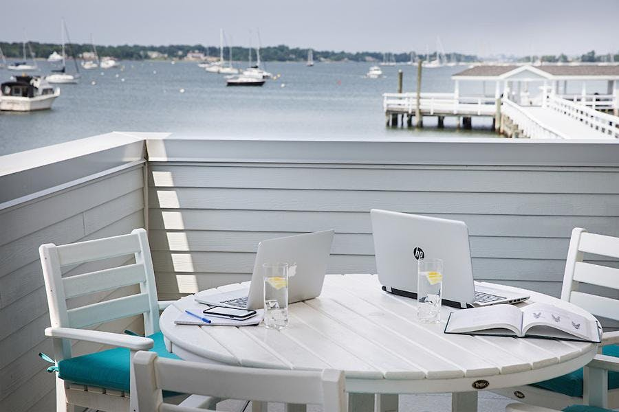 Beautiful views of Manhasset Bay from our front veranda
