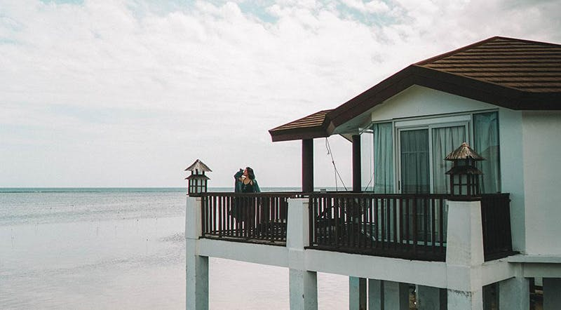 Overlooking the water villas