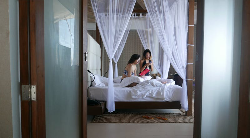 BFF's Laureen and Nicole at our Water Villas