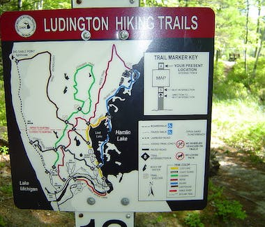 Ludington State Park - These trail direction signs are locate at all trail intersections throughout the park