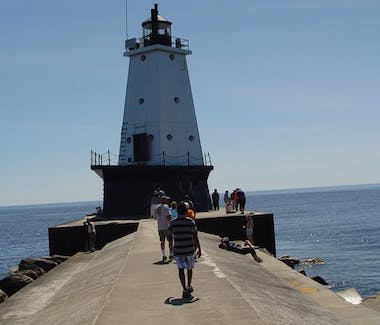 Break wall walk to Ludington North Pier Lighthouse