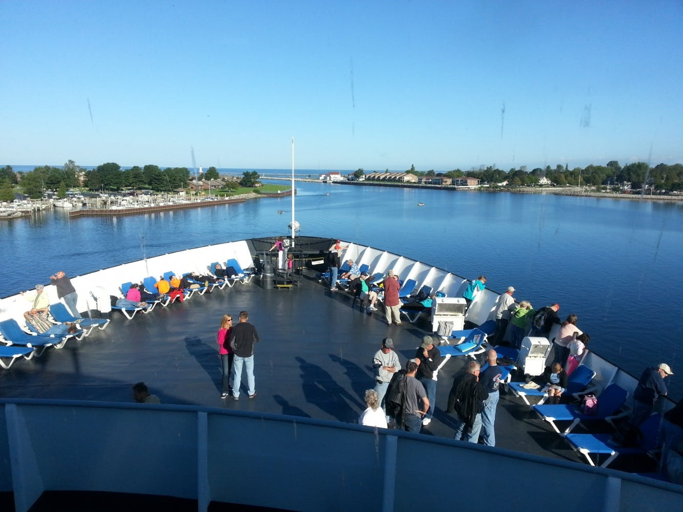 SS Badger Carferry - front deck on a sunny day leaving Manitowoc
